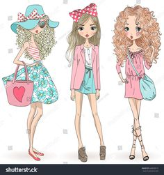 Three hand drawn beautiful cute cartoon summer girls. Vector illustration.