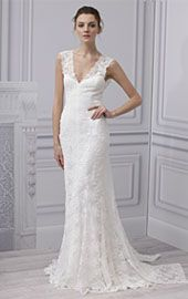 #short-sleeved wedding gown #lace #wedding gown  I love the front!  I hate the back!  @Spring 2013 | Monique Lhuillier