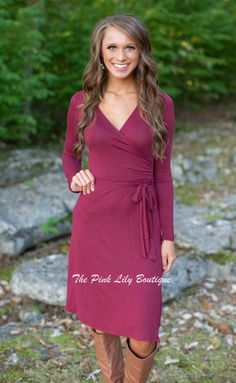 Sunday In The South Dress Burgundy - The Pink Lily Boutique