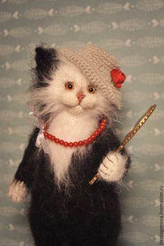 Купить Модница - кошка, кот, котик, игрушка кот, Игрушка кошка, игрушка котенок