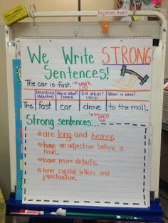 Anchor Chart: Compares and Contrasts simple sentences to strong, complex sentences.