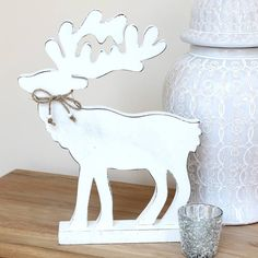 Nordic White Wooden Reindeer by Marquis & Dawe, the perfect gift for Explore more unique gifts in our curated marketplace. Wooden Reindeer, Reindeer Ornaments, Christmas Ornaments, Christmas Wood Crafts, Christmas Decorations, Scroll Saw Patterns, Simple Christmas, Arts And Crafts, Marquis