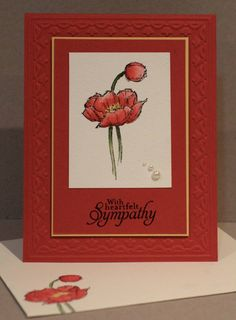 handmade sympathy card ... red base with Tulip Textured Impressions embossed frame .,. Simply Sketched flower in red ... luv the shading of the color ,,, sweet pearls in the corner... envelope stamped to match ... like this card!! ... Stampin' Up!