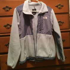 blue north face a little worn out, a small hole in both pockets, warm with a light sweatshirt or sweater under it North Face Jackets & Coats