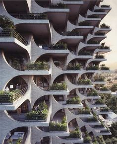 Penda has designed a residential tower in Tel Aviv, with facades made of modular archways, which aims to compliment the city's Bauhaus architecture. Architecture Design, Green Architecture, Facade Design, Futuristic Architecture, Beautiful Architecture, Landscape Architecture, Exterior Design, Residential Architecture, Concrete Architecture