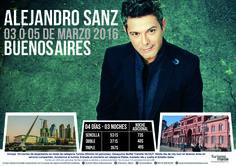 Disfruta Alejandro Sanz en concierto en Buenos Aires, te llevamos con éste paquete que incluye alojamientos, traslados y tickets de entrada. Contáctanos maybeth.acevedo@gmail.com