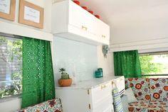 Vintage Caravan Camper Makeover - kitchen cupboards