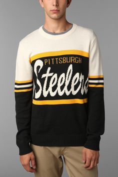 I'm kinda digging this...don't tell my husband, lol    Junk Food NFL Steelers Sweater  #UrbanOutfitters