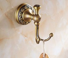 Rozin® Antique Brass Bathroom Towel Hanger Wall Mounted Clothes Hook * CONTINUE @ http://www.laminatepanel.com/store/rozin-antique-brass-bathroom-towel-hanger-wall-mounted-clothes-hook/?b=9841