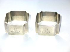 Pair of Solid Silver Art Deco Napkin Rings 1938