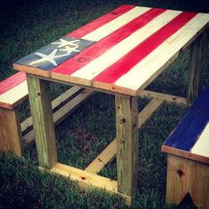 Photo from islandcowgirlinc Diy Furniture Building, Furniture Ideas, Wood Projects, Projects To Try, Crafts To Make, Diy Crafts, Porch Steps, Picnic Table, The Great Outdoors