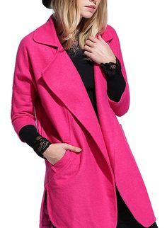 Allbebe Women's Plus Size Coat Collar 3/4 Sleeve With Pockets Slit Woolen Coat * Find out more details by clicking the image : Plus size coats
