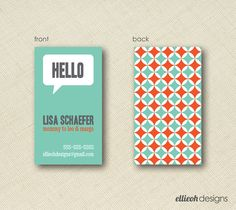 hello mommy calling card doublesided PRINTABLE door ellieohdesigns, $10,00