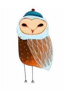 Illustration Print. The Barn owl. Limited edition art print. Kids art and Decor.. $40.00, via Etsy.