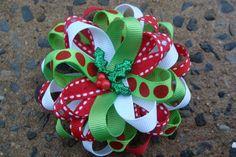 Christmas Hair Bow Loopy Flower Hair Bow by MyLuckyHairBow on Etsy, $6.00