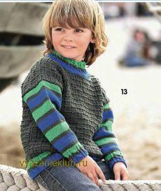 Пуловер с полосатыми рукавами для мальчика - Для мальчиков - Каталог файлов - Вязание для детей