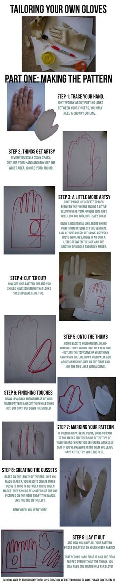 Gloves Tutorial: Part I, Making a Pattern by ~Eightohsixtythird on deviantART