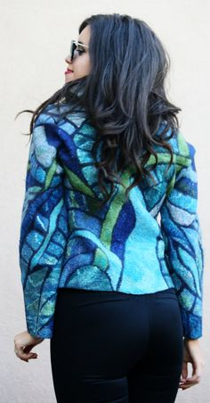 Nuno felted eco fashion fun blue mosaic Tiffany jacket woman