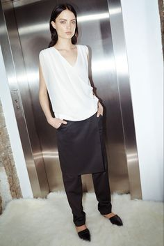 Sally LaPointe Pre-Fall 2015 - skirt over pants