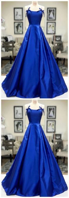 Blue satin long a line prom dress blue evening dress by olesaweddingdresses, $148.31 USD Royal Blue Formal Dresses, Royal Blue Evening Dress, Cheap Formal Dresses, Blue Evening Dresses, Mermaid Evening Dresses, Evening Gowns, Backless Prom Dresses, A Line Prom Dresses, Bridesmaid Dresses