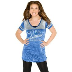 NFL Women's Detroit Lions The Coop 2 Football Top In Team Color  https://allstarsportsfan.com/product/nfl-womens-detroit-lions-the-coop-2-football-top-in-team-color/  60% Cotton / 40% Polyester Secondary Team Color Jersey Stripes Sewn Onto Sleeves Dazzling Team Logo Screenprint
