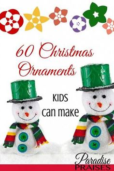 A great list of Christmas ornaments kids can make. Something for everyone and every skill level. #christmascrafts