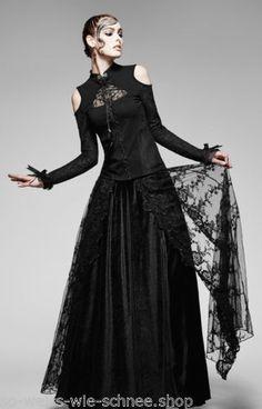 Punk-Rave-Gothic-Bluse-Burlesque-Edel-Steampunk-Shirt-Top-Victorian-Vintage-T379