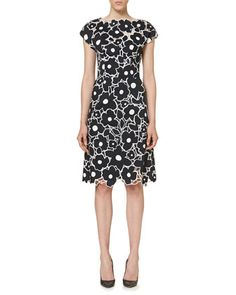 Floral+Cutout+Cap-Sleeve+Cocktail+Dress,+Black/White+by+Carolina+Herrera+at+Neiman+Marcus.