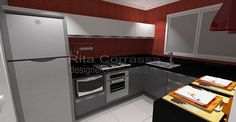 Cozinha moderna para casal jovem - vermelho e cinza