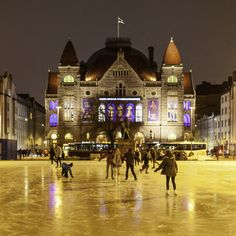 Skating on the Railway Station Square in front of the National Theater - Helsinki, Finland Ramones, Visit Helsinki, National Theatre, Cultural Events, Interesting History, Beautiful Buildings, Capital City, Ice Skating, Finland