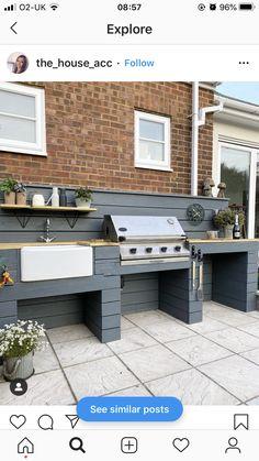 Outdoor Bbq Kitchen, Outdoor Oven, Outdoor Kitchen Design, Kitchen Decor, Outdoor Grill Area, Outdoor Kitchens, Outdoor Cooking Area, Outdoor Bars, Outdoor Patios