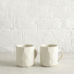 Pair of Porcelain Faceted Espresso Cups