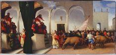 Santa Lucia condannata ad essere trascinata dai buoi. 1532. Predella della pala di Jesi. Pinacoteca Civica di Jesi