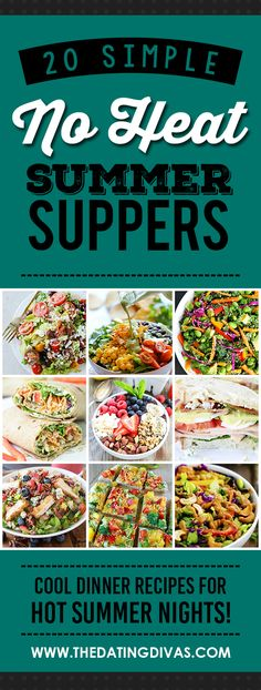 Simple Summer Suppers No Heat Summer Suppers- for those nights when it's just to dang hot to turn on the oven.No Heat Summer Suppers- for those nights when it's just to dang hot to turn on the oven. Hot Day Dinners, Easy Summer Dinners, Cold Meals, Easy Meals, Light Summer Meals, Cold Dinner Ideas, Simple Supper Ideas, Healthy Supper Ideas, No Heat Lunch