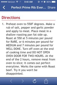 Cooking perfect Prime Rib - Jim M says use 500 not 550 - Jill Clear - Photo Prime Rib Recipe Oven, Ribs Recipe Oven, Rib Roast Recipe, Cooking Prime Rib, Prime Rib Dinner, Prime Rib Roast, Meat Recipes, Cooking Recipes, Recipies