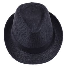 V-SOL Sombrero Negro Paja De Lino Verano Playa Gorro Para Mujer Hombre  Unisex  38a109d7a1f