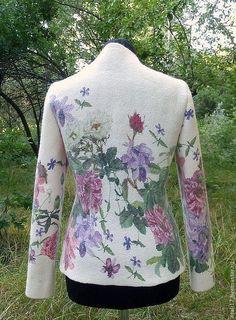 Купить Жакет Любимый парфюм- войлок - жакет из войлока, жакет валяный, белый, цветочный