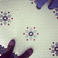 Vintage inspired hex tile floor on Mr. and Mr. Blandings
