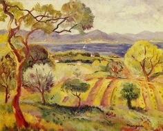 St-Tropez, view of the gulf by Henri Manguin Saint Tropez, Landscape Art, Landscape Paintings, Art Fauvisme, Raoul Dufy, Georges Braque, Post Impressionism, Impressionist Paintings, Vintage Artwork