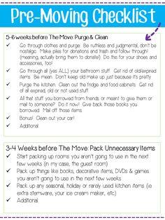 Pre Moving Checklist from @blogginginpa                                                                                                                                                                                 More