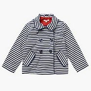 pocket placement and collar make this girly Striped Jacket, Debenhams, Kid Styles, Navy Stripes, Girly, How To Make, Kids, Jackets, Clothes