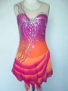 CUSTOM MADE TO FIT ICE SKATING BATON TWIRLING DRESS in Skating Dresses-Girls | eBay