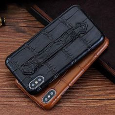 Luxury Genuine Crocodile Leather Wrist Strap Stand Outdoor Sports Phone case For iPhone 11 11 Pro M Iphone 11, Iphone Cases, Iphone Leather Case, Crocodile Skin, Instagram Shop, Skin So Soft, Natural Leather, Protective Cases, Luxury Branding