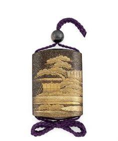 A Four-Case Inro   Signed Kajikawa saku and with a red pot seal, Edo Period (19th century)  Decorated in gold and silver hiramaki-e, takamaki-e, hirame and togidashi-e on a sparse nashiji ground with boats behind pine trees, nashiji interiors and risers