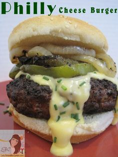 Philly Cheese Burger | http://www.ladybehindthecurtain.com/philly-cheese-burger/