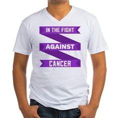 Pancreatic Cancer Fight Men's V-Neck T-Shirt>  Pancreatic Cancer In The Fight Shirts> Hope Awareness Ribbon Shirts and Gifts