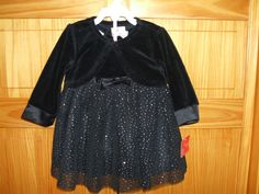 HOLIDAY EDITIONS BLACK OR RED SPARKLES 3 PIECE DRESS SET 3-6 OR 6-9 MONTHS *NWT* #WonderKids #HolidayDress #PartyFormal
