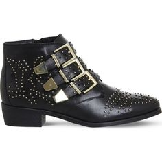 Office Lucky Charm studded leather boots (€61) ❤ liked on Polyvore featuring shoes, boots, western boots, western ankle boots, short boots, leather ankle boots and leather cowgirl boots