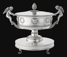 Jerome Bonaparte, King of Westphalia: A Royal silver soup tureen and stand, Johann Georg Hann, Vienna, 1803, the cover by Jean-Baptiste Claude Odiot, Paris, 1798-1809  The stand and tureen with maker's mark and Vienna mark for 1803  Length 14 1/2 in. 36.8 cm 121 oz excluding liner 3763 g