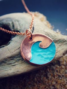 Textured Turquoise Blue Wave Pendant in Sterling Silver or Copper or Bronze Ocean Lake Beach Jewelry : Onda con textura colgante en plata o cobre o por SproutsAndRoots Beach Jewelry, Cute Jewelry, Jewelry Box, Jewelery, Jewelry Accessories, Jewelry Making, Gold Jewelry, Jewelry Stores, Summer Accessories